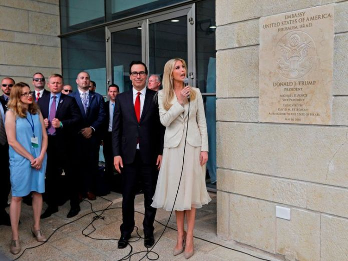 Ivanka Trump at the opening of the US embassy in Jerusalem A portrait of grief after day of deadly violence A portrait of grief after day of deadly violence skynews us embassy jerusalem 4311210