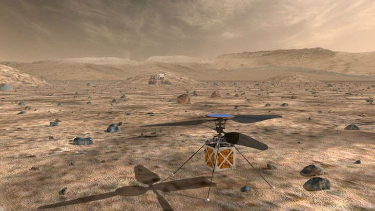 An artist's impression of the Mars helicopter on the red planet. Image: NASA