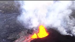 Kilauea Volcano erupts huge fountains of lava in Hawaii  Hurricane Hector could collide with erupting Kilauea Volcano in Hawaii skynews hawaii volcano aerials 4329881