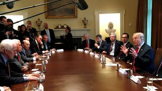 U.S. President Trump discusses immigration policy during a Cabinet meeting at the White House in Washington Trump set to end migrant family separations Trump set to end migrant family separations skynews trump child separation 4341210