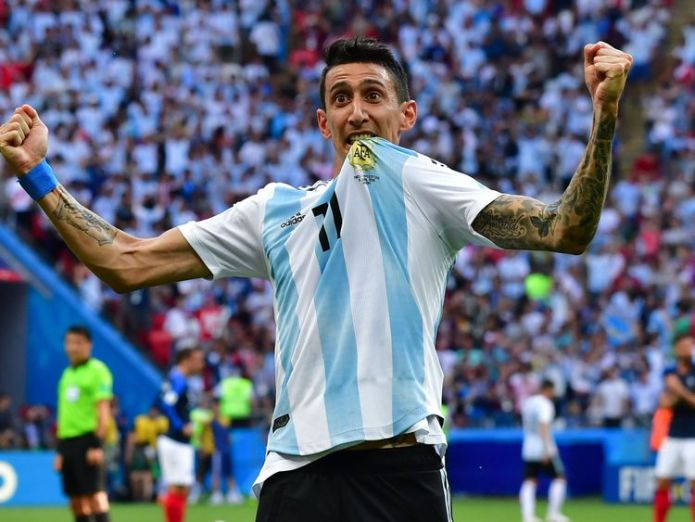 Angel Di Maria celebrates his stunning goal against France  Lionel Messi heading home as World Cup last 16 starts with bang skynews angel di maria world cup 4349795