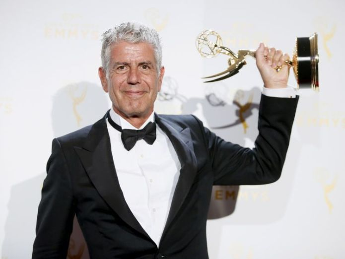 Bourdain with an Emmy Award for Parts Unknown in 2015 Celebrity chef dies in apparent suicide aged 61 Celebrity chef dies in apparent suicide aged 61 skynews anthony bourdain bourdain 4330904