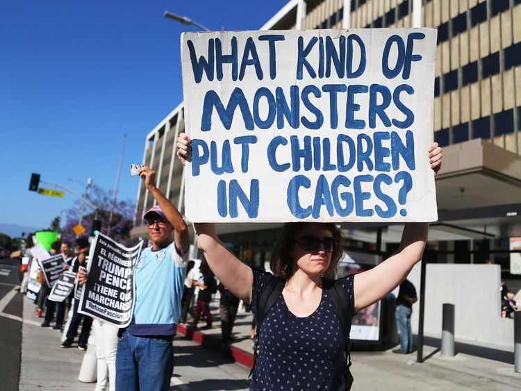 Protestors demonstrate against the separation of migrant children from their families.