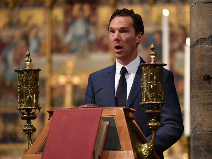 Benedict Cumberbatch gives a reading at the service hawking word Hawking's words to be set to music and sent into space after Westminster tribute skynews benedict cumberbatch 4336960