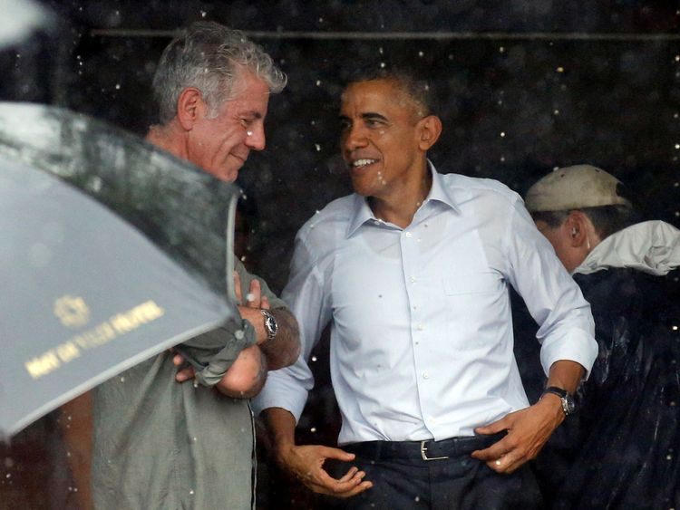 Bourdain with Barack Obama after an interview in Vietnam in May 2016