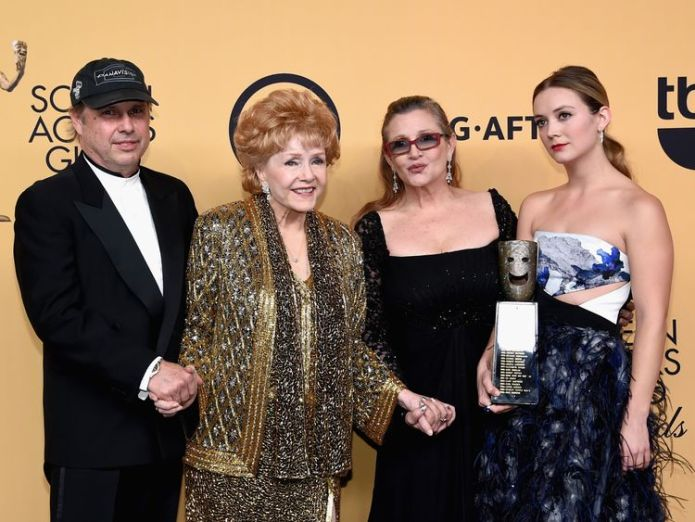 Todd Fisher with mother Debbie Reynolds, sister Carrie Fisher and niece Billie Lourd in 2015 Todd Fisher opens up about loss of sister Carrie and mum Debbie Reynolds Todd Fisher opens up about loss of sister Carrie and mum Debbie Reynolds skynews carrie fisher debbie reynolds 4340699