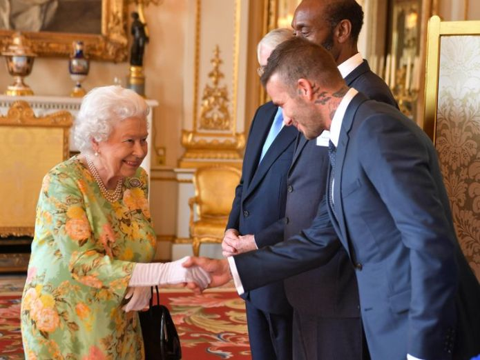 The Queen and David Beckham  Queen joins Harry and Meghan to honour young leaders at star-studded bash Queen joins Harry and Meghan to honour young leaders at star-studded bash skynews david beckham queen 4346637