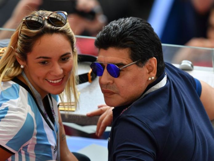 Diego Maradona and girlfriend Rocio Oliva watch on in Kazan  Lionel Messi heading home as World Cup last 16 starts with bang skynews diego maradona gilfriend rocio oliva 4349851