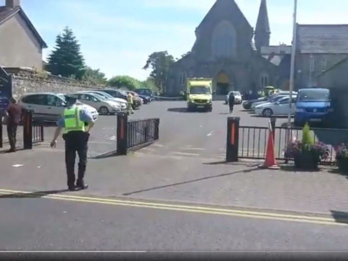 The accident happened outside of a church. Pic: TheJournal.ie Seven injured after priest falls ill and drives into them in Dublin Seven injured after priest falls ill and drives into them in Dublin skynews dublin priest crash 4345354
