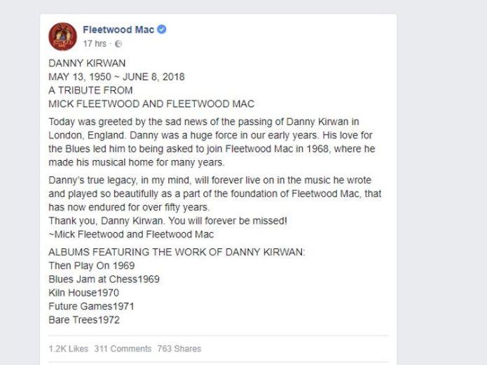 Fleetwood Mac's statement on the official Facebook page Fleetwood Mac guitarist Danny Kirwan dies Fleetwood Mac guitarist Danny Kirwan dies skynews fleetwood mac facebook 4332000