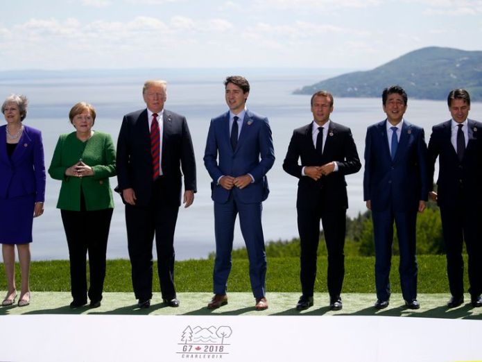 The G7 leaders European members of G7 reject Donald Trump's call to reinstate Russia European members of G7 reject Donald Trump's call to reinstate Russia skynews g7 trump theresa may 4331347