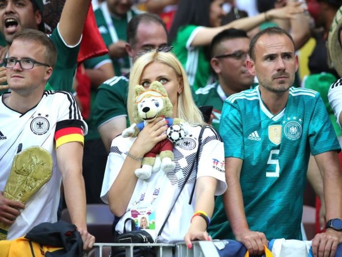 German fans cannot hide their disappointment Holders Germany beaten by Mexico in opening match in Russia Holders Germany beaten by Mexico in opening match in Russia skynews germany football world cup 4338761