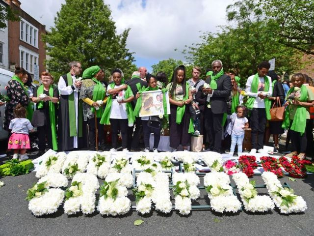 Doves are released outside St Helen's Church, North Kensington, following a Grenfell Tower fire Memorial Service to mark one year since the blaze, which claimed 72 lives. PRESS ASSOCIATION Photo. Picture date: Thursday June 14, 2018. Thursday marks 12 months since a small kitchen fire in the high-rise turned into the most deadly domestic blaze since the Second World War. See PA story MEMORIAL Grenfell. Photo credit should read: David Mirzoeff/PA Wire
