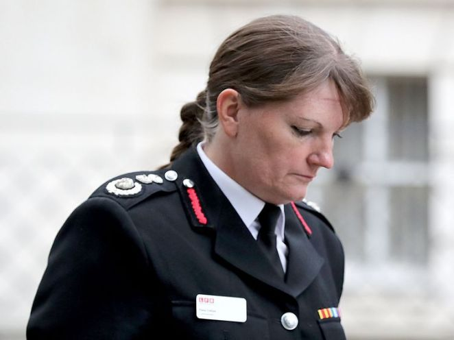 London fire commissioner Dany Cotton marks the one year anniversary of the Grenfell Tower fire with a one minute silence at London Fire Brigade (LFB) HQ in Southwark, London. PRESS ASSOCIATION Photo. Picture date: Thursday June 14, 2018. See PA story MEMORIAL Grenfell. Photo credit should read: Gareth Fuller/PA Wire