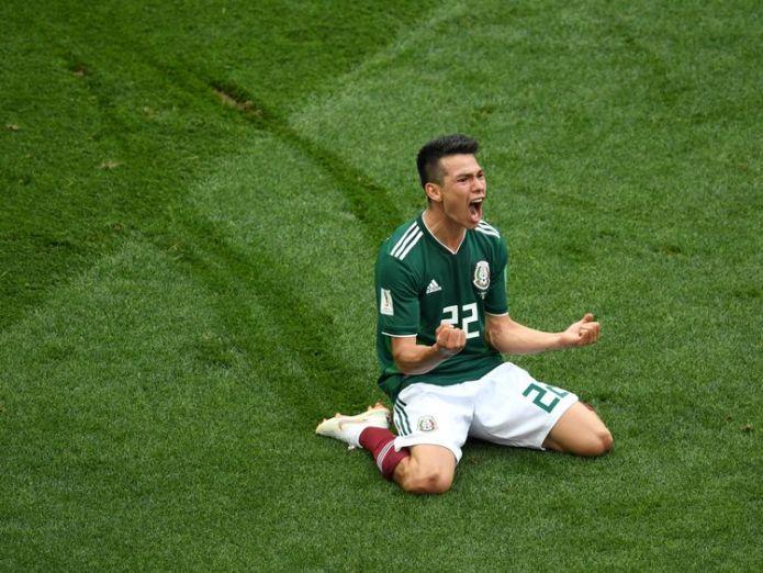 Mexico's Hirving Lozano celebrates his goal against Germany Holders Germany beaten by Mexico in opening match in Russia Holders Germany beaten by Mexico in opening match in Russia skynews hirving lozano mexico 4338752