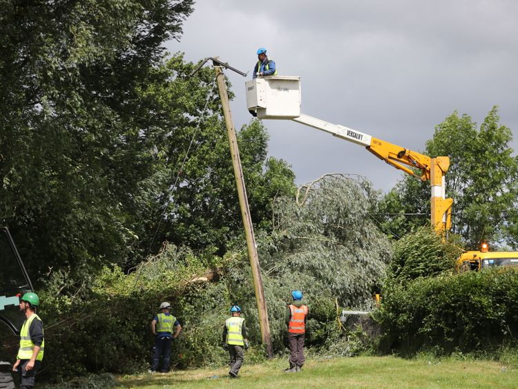 ESB Networks crews working to restore power to homes near Naas in Co Kildare after Storm Hector