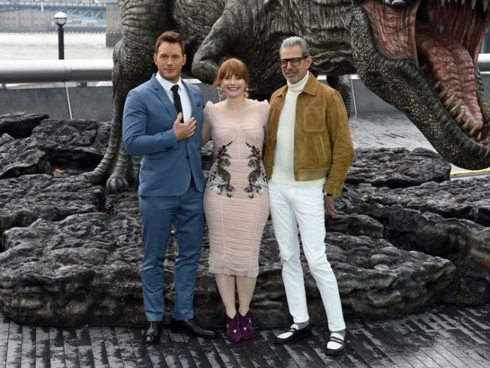 Goldblum with co-stars Chris Pratt (left) and Bryce Dallas Howard (centre) Jurassic World's Jeff Goldblum in demand as he takes on films, jazz and fatherhood Jurassic World's Jeff Goldblum in demand as he takes on films, jazz and fatherhood skynews jeff goldblum film 4329442