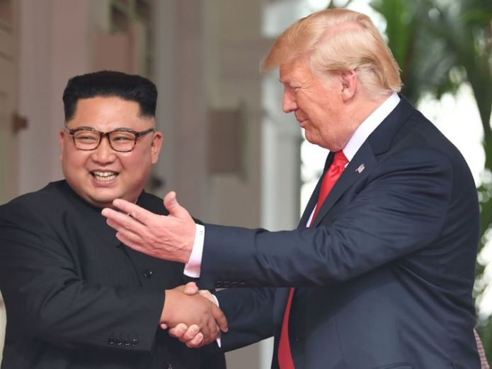 Mr Kim and Mr Trump appeared in high spirits as they met Donald Trump confident of 'terrific relationship' with Kim Jong Un Donald Trump confident of 'terrific relationship' with Kim Jong Un skynews kim trump 4333772
