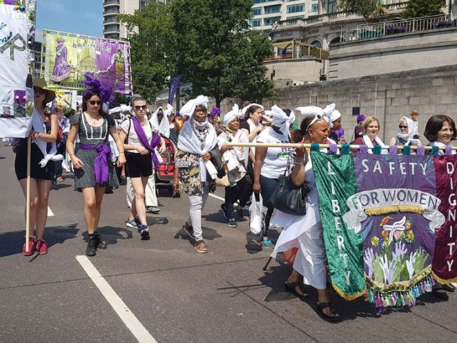 The march in London started in Hyde Park and went past Trafalgar Square
