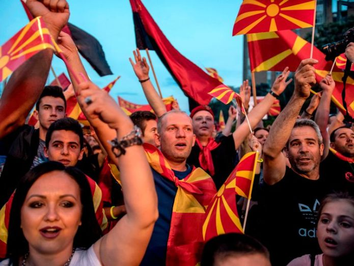 Protests against the name change have taken place in Skopje President rejects renaming Macedonia amid protests President rejects renaming Macedonia amid protests skynews macedonia greece name 4334620