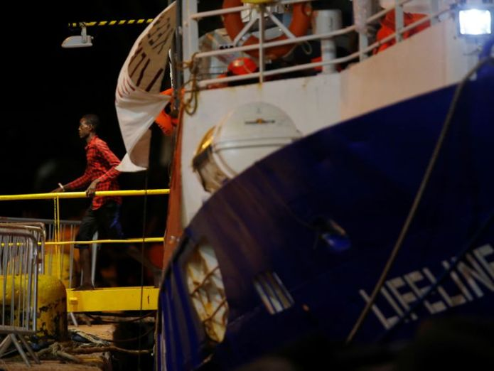 A migrant disembarks from the charity ship Lifeline at Boiler Wharf in Senglea Migrant ship docks in Malta after days of international dispute Migrant ship docks in Malta after days of international dispute skynews malta lifeline migrants 4347478
