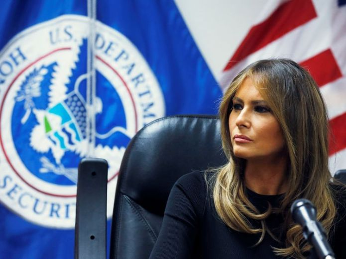 US first lady Melania Trump listens to federal immigration and law enforcement officials during a roundtable discussion as she visits a US Customs and Border Patrol facility in Tucson, Arizona  Melania Trump back on US-Mexico border region for visit to immigration centre skynews melania trump arizona 4348262