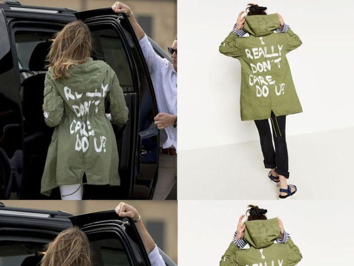 Melania Trump pictured wearing the Zara jacket. Right pic: Zara  Melania Trump back on US-Mexico border region for visit to immigration centre skynews melania trump jacket 4342313