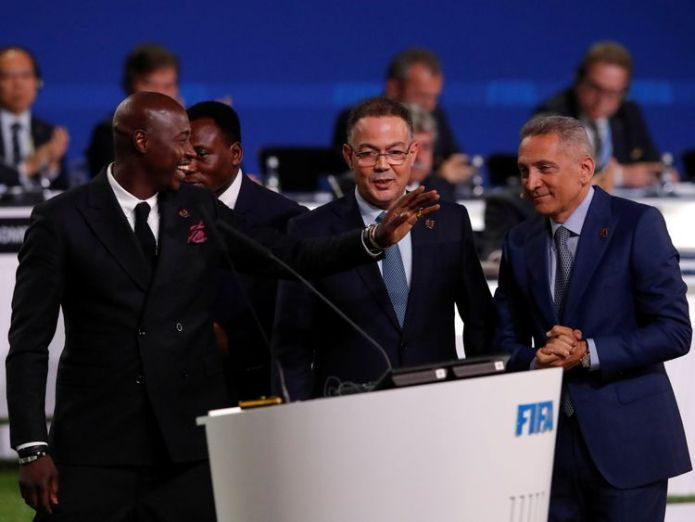 Morocco FA president Fouzi Lekjaa, centre, said his country is still 'determined' to host the tournament United States, Canada and Mexico to jointly host 2026 World Cup United States, Canada and Mexico to jointly host 2026 World Cup skynews morocco fozi lekjaa 4335024
