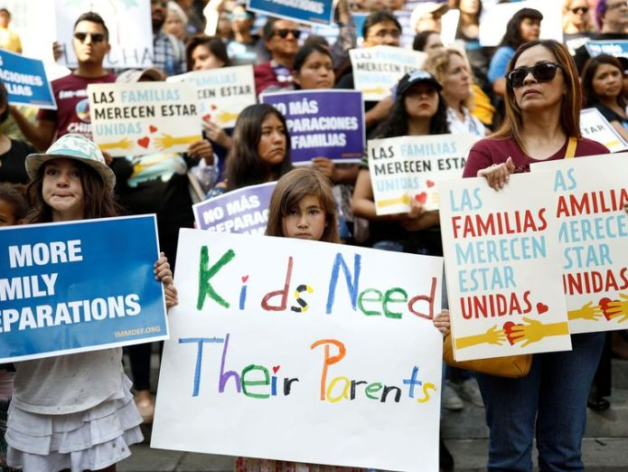 Protests against the controversial policy took place in California last week Melania Trump 'hates' to see children separated from families at US border Melania Trump 'hates' to see children separated from families at US border skynews protests parents 4337516