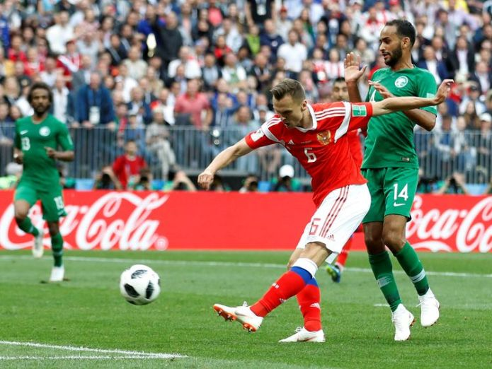 Saudi Arabia lost 5-0 in their World Cup opener against Russia on Thursday Fire drama on Saudi Arabian team flight Fire drama on Saudi Arabian team flight skynews russia saudi arabia 4339695
