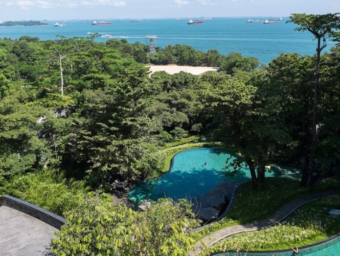 SINGAPORE, SINGAPORE - 4 JUNE: View of the Singapore Straits from the Capella Hotel in Sentosa Island on June 4, 2018 Fake Kim Jong Un detained in Singapore and warned to stay away from Trump summit Fake Kim Jong Un detained in Singapore and warned to stay away from Trump summit skynews singapore capella summit 4329039