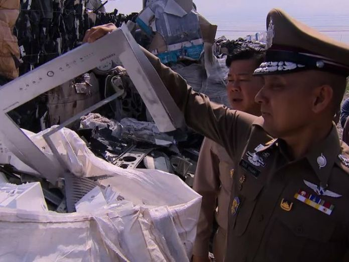 Imports have been detected from 35 countries including the UK    Thailand facing 'hazardous' illegal e-waste crisis skynews thailand e waste 4350136
