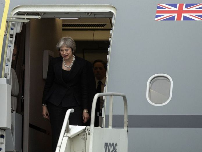 British Prime Minister Theresa May arrives at CFB Bagotville, Quebec, on June 7, 2018 for the G7 leaders summit in Charlevoix, Quebec No guarantee from PM of Brexit backstop ending in December 2021 No guarantee from PM of Brexit backstop ending in December 2021 skynews theresa may g7 quebec 4330555