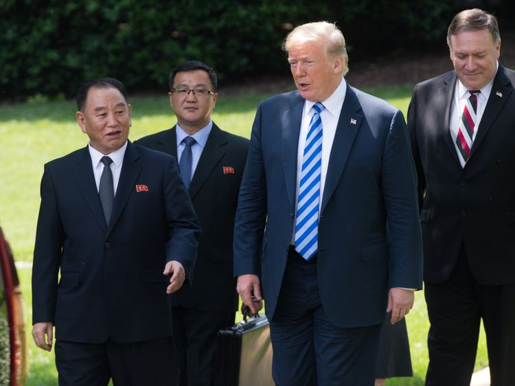 US President Donald Trump speaks with North Korean Kim Yong Chol (L) on the South Lawn of the White House on June 1, 2018 in Washington, DC