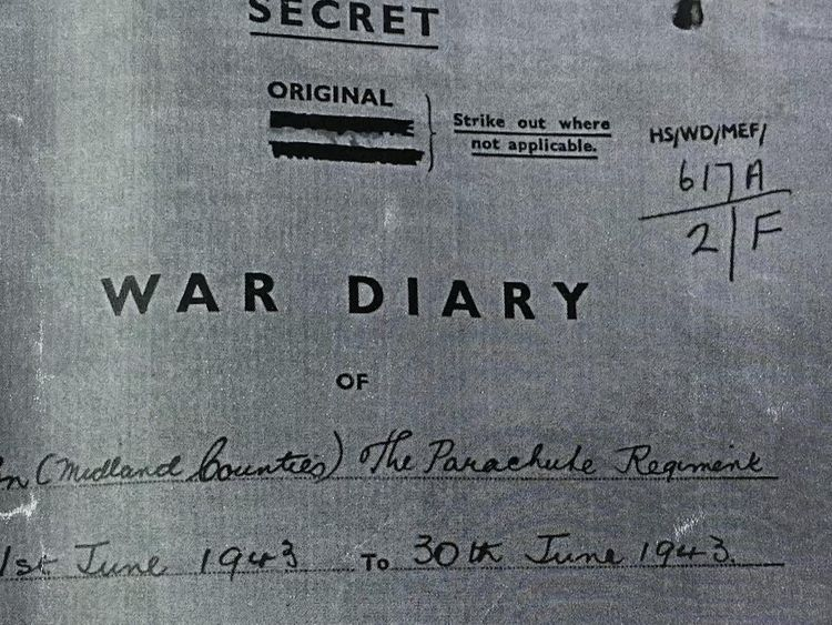 A war diary recorded the fatal order to parachute