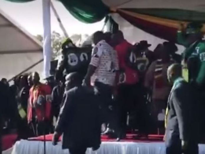 This shot was taken seconds before the blast as the president leaves the podium 'Assassination attempt' on Zimbabwean President Emmerson Mnangagwa 'Assassination attempt' on Zimbabwean President Emmerson Mnangagwa skynews zimbabwe explosion 4343728