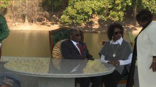 Zimbabwe's former leader Robert Mugabe pictured with his wife, Grace  Robert Mugabe takes swipe at President Emmerson Mnangagwa skynews mugabe grace zimbabwe 4374853
