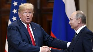 U.S. President Donald Trump and Russia's President Vladimir Putin shake hands after their joint news conference in the Presidential Palace in Helsinki, Finland  Donald Trump backs Vladimir Putin against US intelligence agencies over election meddling claims skynews putin trump summit 4363695