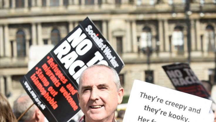 Demonstrators in George Square, Glasgow, for the Scotland United Against Trump protest against the visit of US President Donald Trump to the UK.Read lessPicture by: Lesley Martin/PA Wire/PA Images