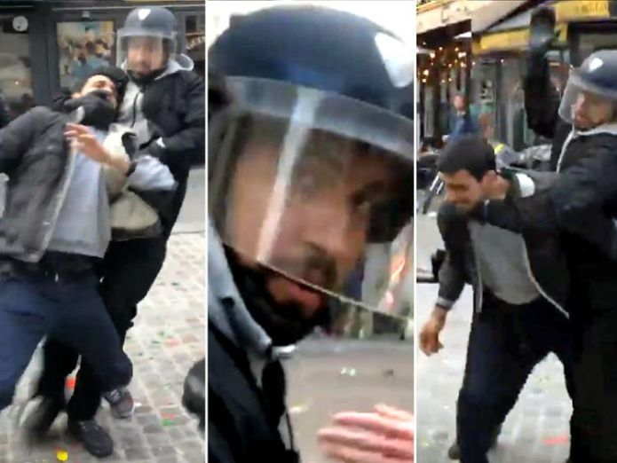 Alexandre Benalla during the Paris protests. Pic: Taha Bouhafs  Aide to French President Emmanuel Macron suspended after beating protester skynews alexandre benalla macron security 4365992