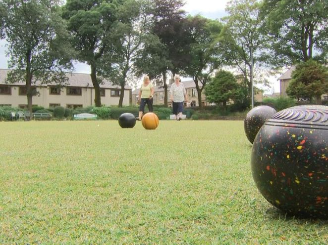 The Edgworth Bowling club's crown green is still green, but only just