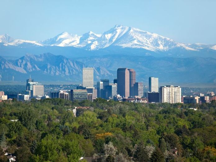 Denver Colorado skyscrapers snowy Longs Peak Rocky Mountains summer - Stock image  Proof of global warming? Historical heat records broken across globe skynews denver colorado 4354086