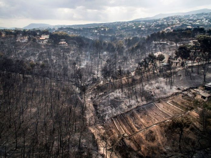 An aerial view shows damage caused by a wildfire near the village of Mati, near Athens  'Serious indications' deadly Greece wildfire was arson skynews greece wildfire aerial mati 4370777