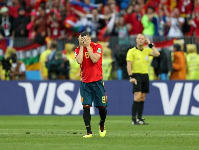 A dejected Koke pictured after missing Spain's third penalty  Russia stun Spain on penalties to make last eight skynews koko spain world cup 4350780