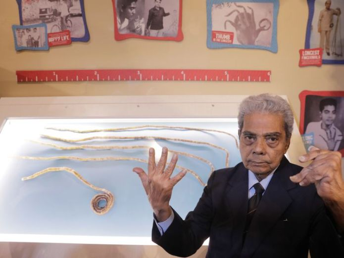 Shridhar Chillal started growing his nails in 1952  Man with world's longest fingernails gets them cut after 66 years skynews longest fingernails 4359698