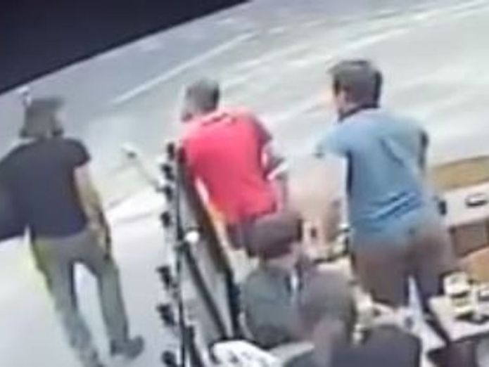 Customers remonstrate with the man, far left  Video of woman being hit outside cafe sparks inquiry as France considers harassment fines skynews marie laguerre slaped 4375934
