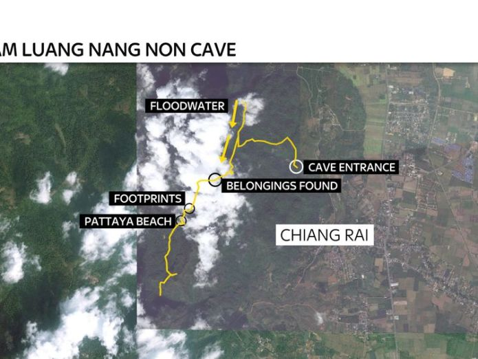 The boys are around 2.5 miles (4km) from the entrance  Water pumped out of cave in bid to rescue trapped boys skynews thailand cave rescue 4352933