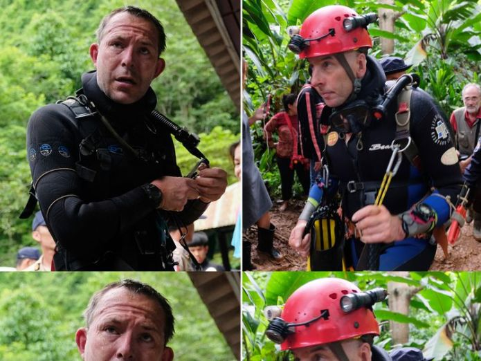 British cave-divers John Volanthen (left) and Richard Stanton in Thailand  Major operation underway to divert water from Thai footballers' cave skynews thailand divers 4352371