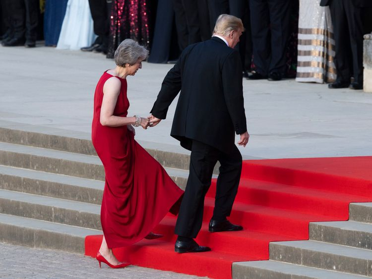 Theresa May and Donald Trump hold hands
