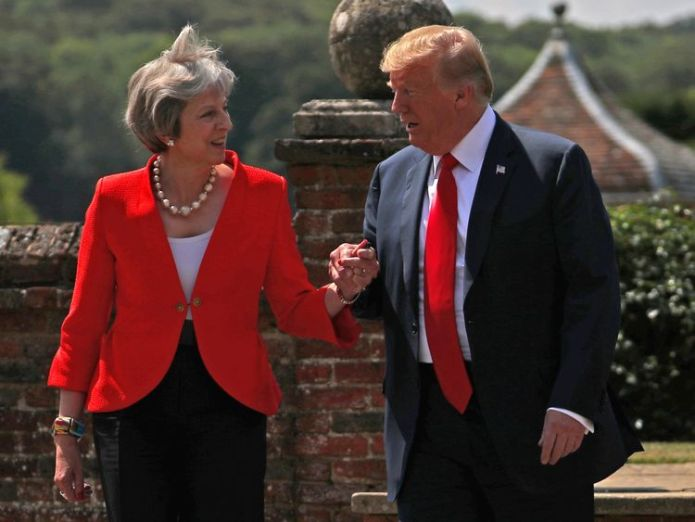 Britain's Prime Minister Theresa May and U.S. President Donald Trump walk to a joint news conference at Chequers, the official country residence of the Prime Minister, near Aylesbury, Britain, July 13, 2018  Iran, trade and Salisbury on agenda as Theresa May visits UN General Assembly skynews theresa may donald trump 4361164